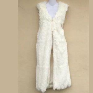 Faux Fur Vest Long Draped Maxi Cardigan M